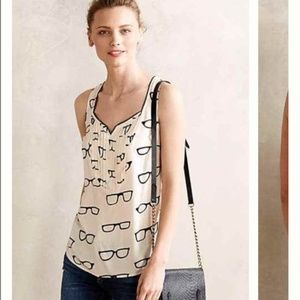 Anthropologie Maeve Glasses Print Amory Tank Top